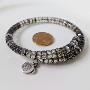 Alex and Ani Smokey Topaz Beaded Wrap Bracelet